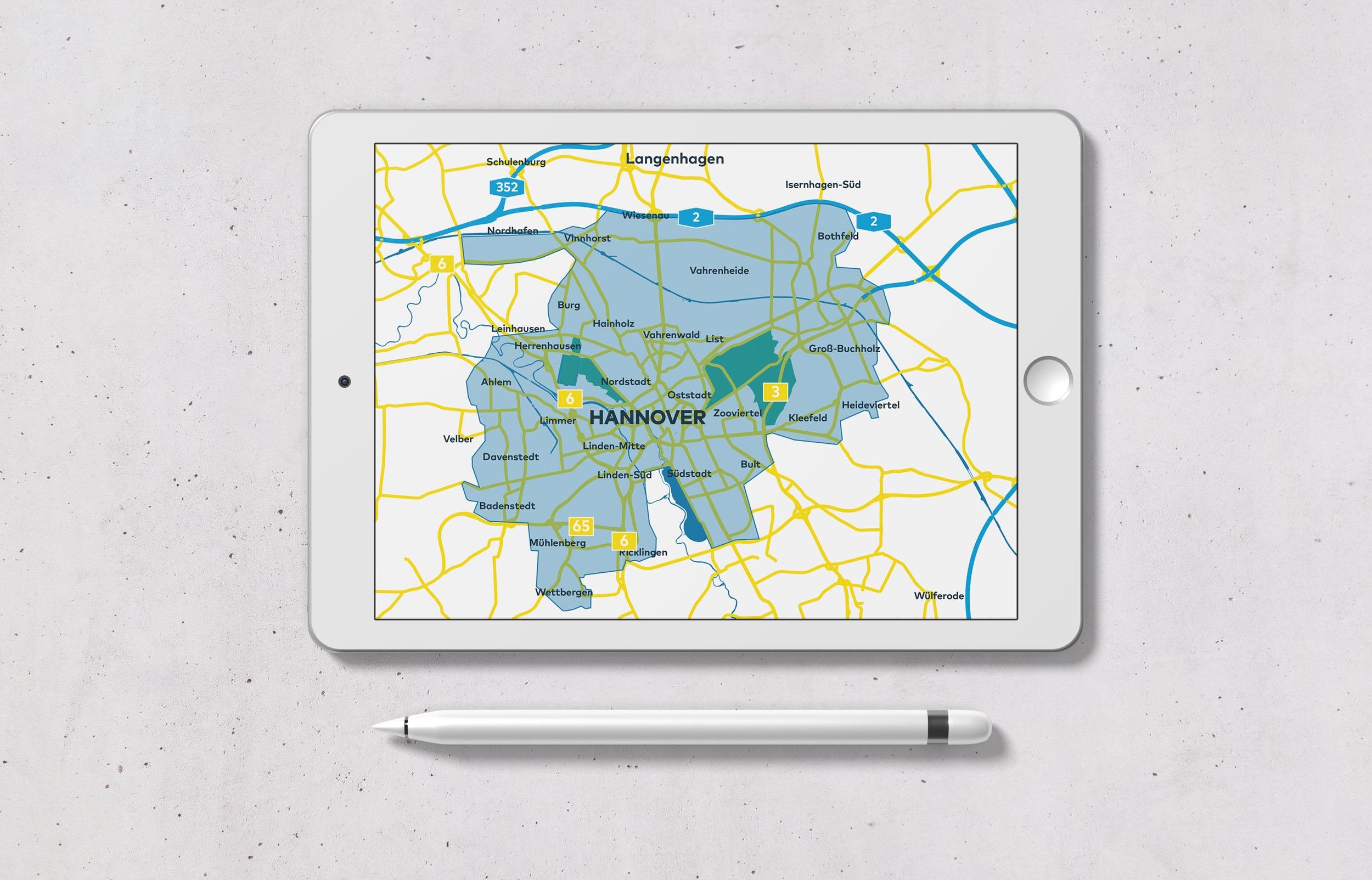 MOIA – Übersichtskarte geschäftsgebiet Hannover | Landkarte | Illustration