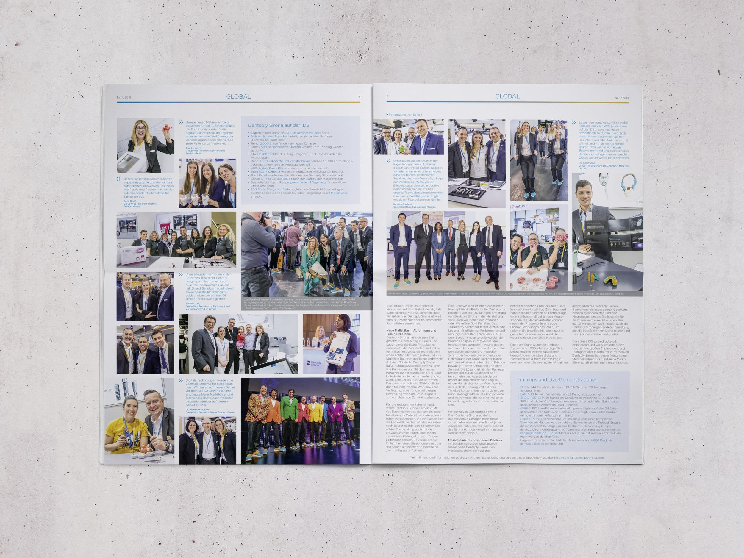Dentsply Sirona – Magazin Spotlight, Global-Ausgabe | Editorial Design, Corporate Publishing